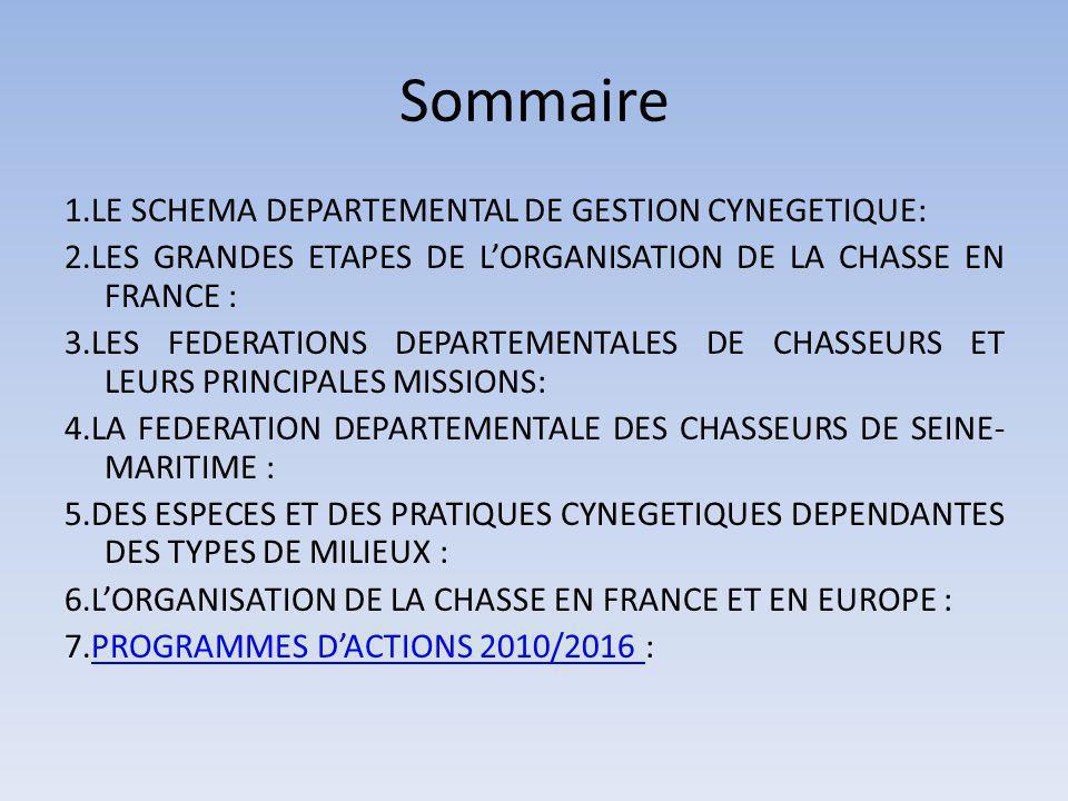 Sommaire 1.LE SCHEMA DEPARTEMENTAL DE GESTION CYNEGETIQUE: 2.LES GRANDES ETAPES DE LORGANISATION DE LA CHASSE EN FRANCE : 3.LES FEDERATIONS DEPARTEMENTALES DE CHASSEURS ET LEURS PRINCIPALES MISSIONS: 4.LA FEDERATION DEPARTEMENTALE DES CHASSEURS DE SEINE- MARITIME : 5.DES ESPECES ET DES PRATIQUES CYNEGETIQUES DEPENDANTES DES TYPES DE MILIEUX : 6.LORGANISATION DE LA CHASSE EN FRANCE ET EN EUROPE : 7.PROGRAMMES DACTIONS 2010/2016 :PROGRAMMES DACTIONS 2010/2016