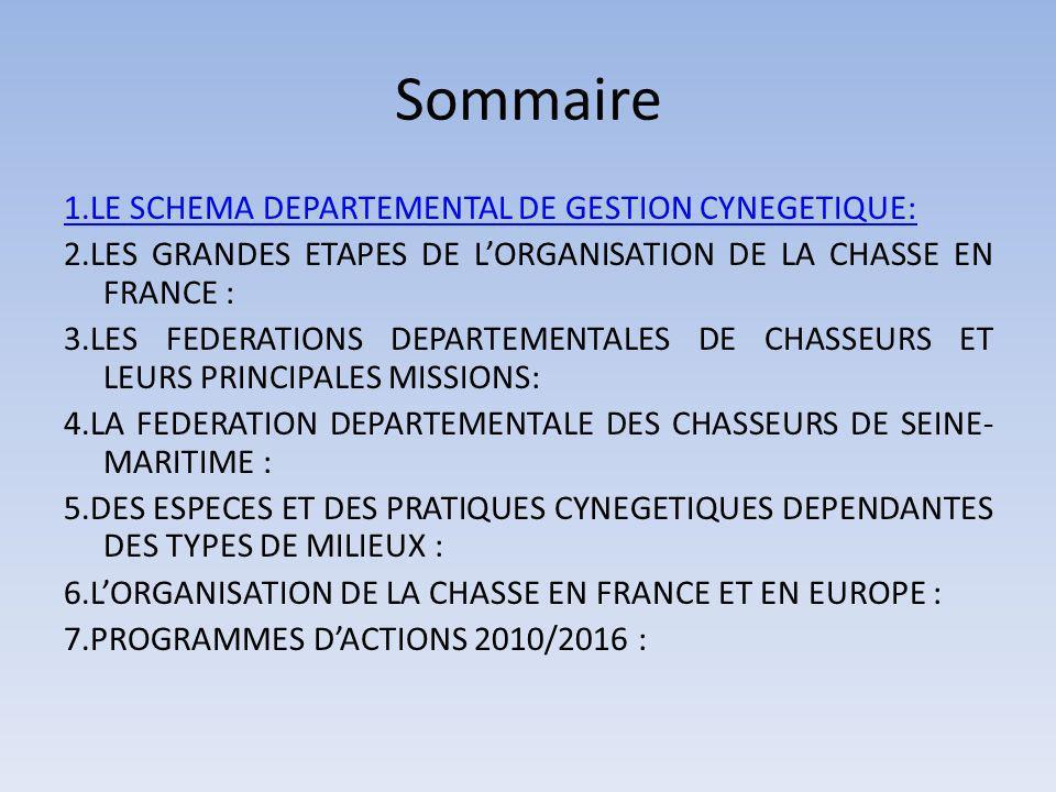 Sommaire 1.LE SCHEMA DEPARTEMENTAL DE GESTION CYNEGETIQUE: 2.LES GRANDES ETAPES DE LORGANISATION DE LA CHASSE EN FRANCE : 3.LES FEDERATIONS DEPARTEMENTALES DE CHASSEURS ET LEURS PRINCIPALES MISSIONS: 4.LA FEDERATION DEPARTEMENTALE DES CHASSEURS DE SEINE- MARITIME : 5.DES ESPECES ET DES PRATIQUES CYNEGETIQUES DEPENDANTES DES TYPES DE MILIEUX : 6.LORGANISATION DE LA CHASSE EN FRANCE ET EN EUROPE : 7.PROGRAMMES DACTIONS 2010/2016 :