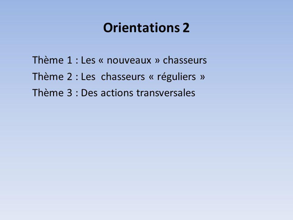 Orientations 2 Thème 1 : Les « nouveaux » chasseurs Thème 2 : Les chasseurs « réguliers » Thème 3 : Des actions transversales
