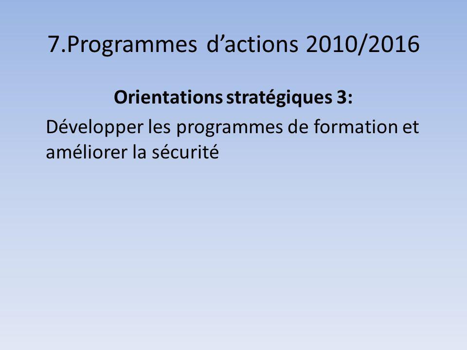 7.Programmes dactions 2010/2016 Orientations stratégiques 3: Développer les programmes de formation et améliorer la sécurité