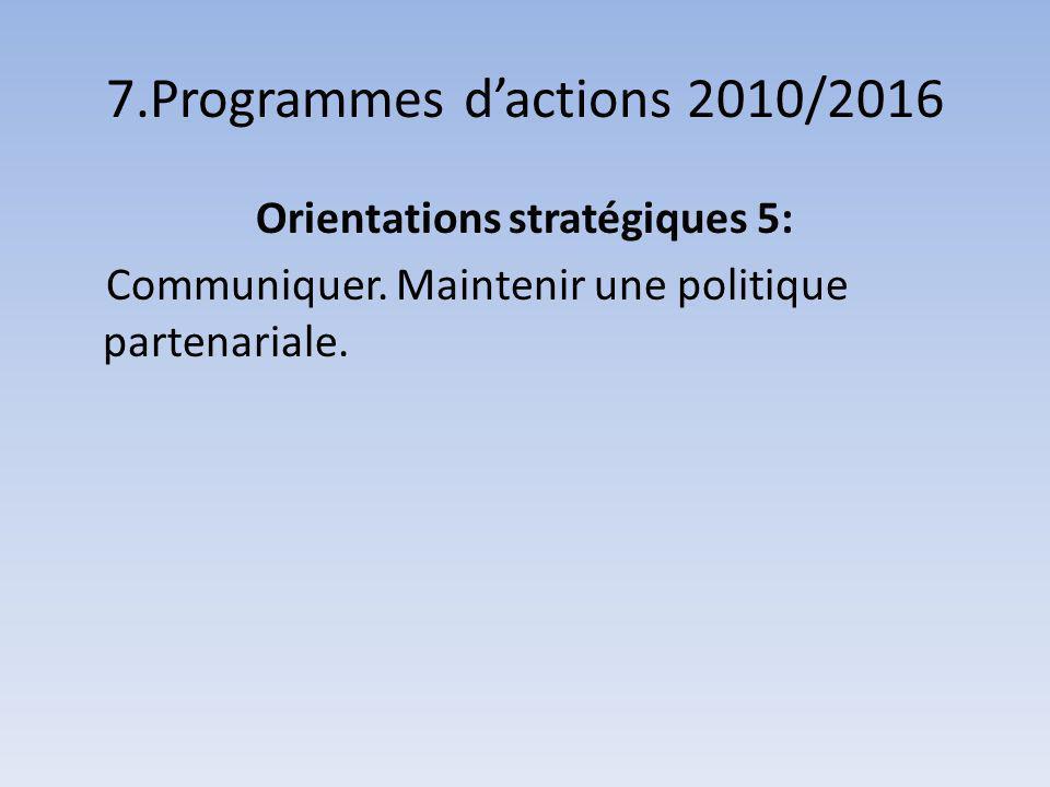 7.Programmes dactions 2010/2016 Orientations stratégiques 5: Communiquer.