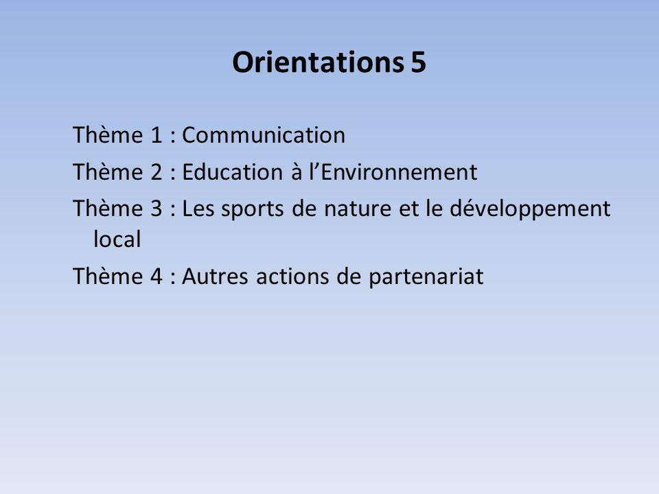 Orientations 5 Thème 1 : Communication Thème 2 : Education à lEnvironnement Thème 3 : Les sports de nature et le développement local Thème 4 : Autres actions de partenariat