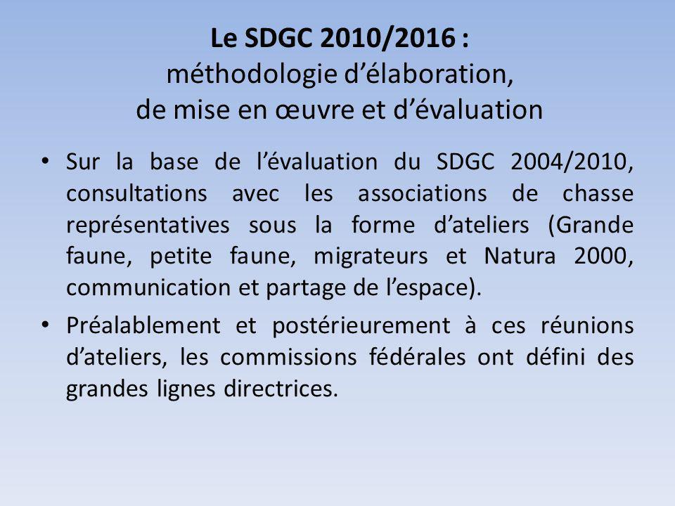 Le SDGC 2010/2016 : méthodologie délaboration, de mise en œuvre et dévaluation Sur la base de lévaluation du SDGC 2004/2010, consultations avec les associations de chasse représentatives sous la forme dateliers (Grande faune, petite faune, migrateurs et Natura 2000, communication et partage de lespace).