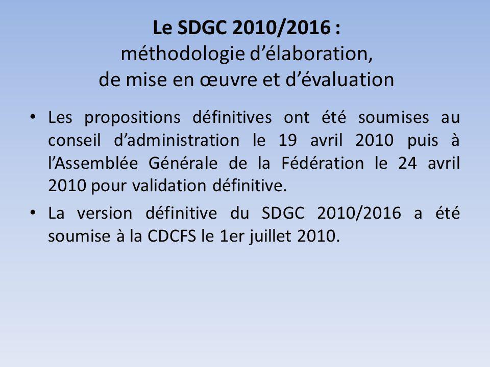 Le SDGC 2010/2016 : méthodologie délaboration, de mise en œuvre et dévaluation Chaque programme dactions ou action fait lobjet dune fiche spécifique qui sera exploitée en interne entre les différents services qui sont chargés de leur développement