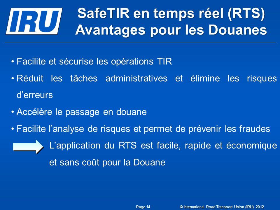 SafeTIR en temps réel (RTS) Avantages pour les Douanes Facilite et sécurise les opérations TIR Réduit les tâches administratives et élimine les risque