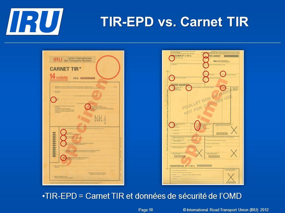 TIR-EPD vs. Carnet TIR Page 18 TIR-EPD = Carnet TIR et données de sécurité de lOMDTIR-EPD = Carnet TIR et données de sécurité de lOMD © International
