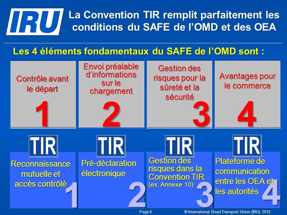 Les 4 éléments fondamentaux du SAFE de lOMD sont : Envoi préalable dinformations sur le chargement Contrôle avant le départ 1 Reconnaissance mutuelle