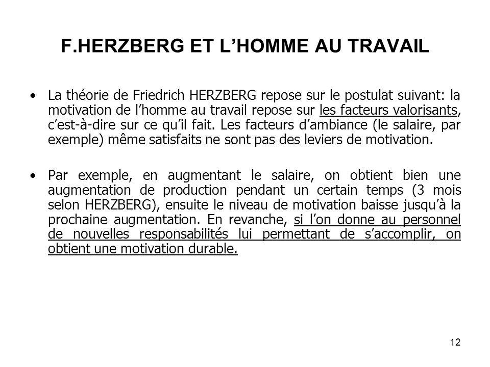F.HERZBERG ET LHOMME AU TRAVAIL La théorie de Friedrich HERZBERG repose sur le postulat suivant: la motivation de lhomme au travail repose sur les facteurs valorisants, cest-à-dire sur ce quil fait.