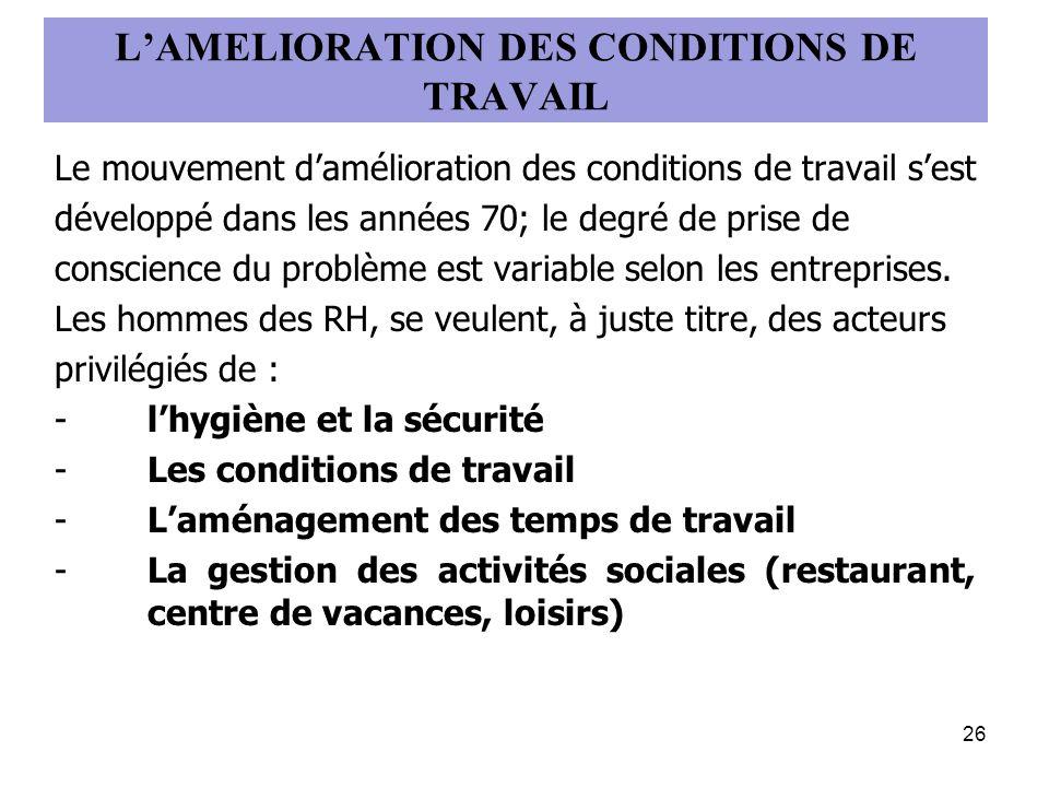 LAMELIORATION DES CONDITIONS DE TRAVAIL Le mouvement damélioration des conditions de travail sest développé dans les années 70; le degré de prise de c