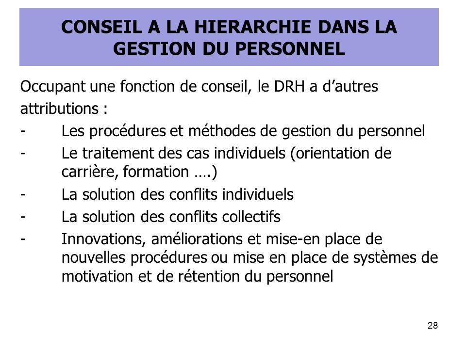 CONSEIL A LA HIERARCHIE DANS LA GESTION DU PERSONNEL Occupant une fonction de conseil, le DRH a dautres attributions : -Les procédures et méthodes de