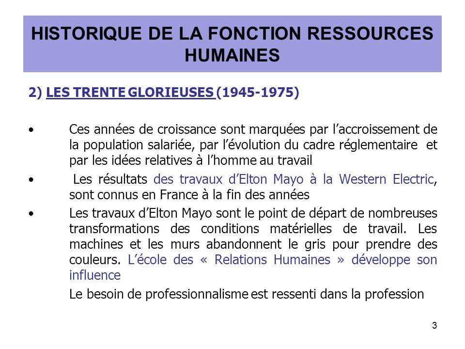 2) LES TRENTE GLORIEUSES (1945-1975) Ces années de croissance sont marquées par laccroissement de la population salariée, par lévolution du cadre réglementaire et par les idées relatives à lhomme au travail Les résultats des travaux dElton Mayo à la Western Electric, sont connus en France à la fin des années Les travaux dElton Mayo sont le point de départ de nombreuses transformations des conditions matérielles de travail.