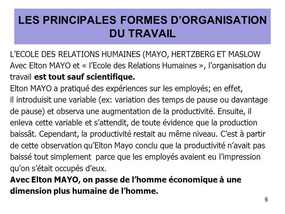 LECOLE DES RELATIONS HUMAINES (MAYO, HERTZBERG ET MASLOW Avec Elton MAYO et « lEcole des Relations Humaines », lorganisation du travail est tout sauf