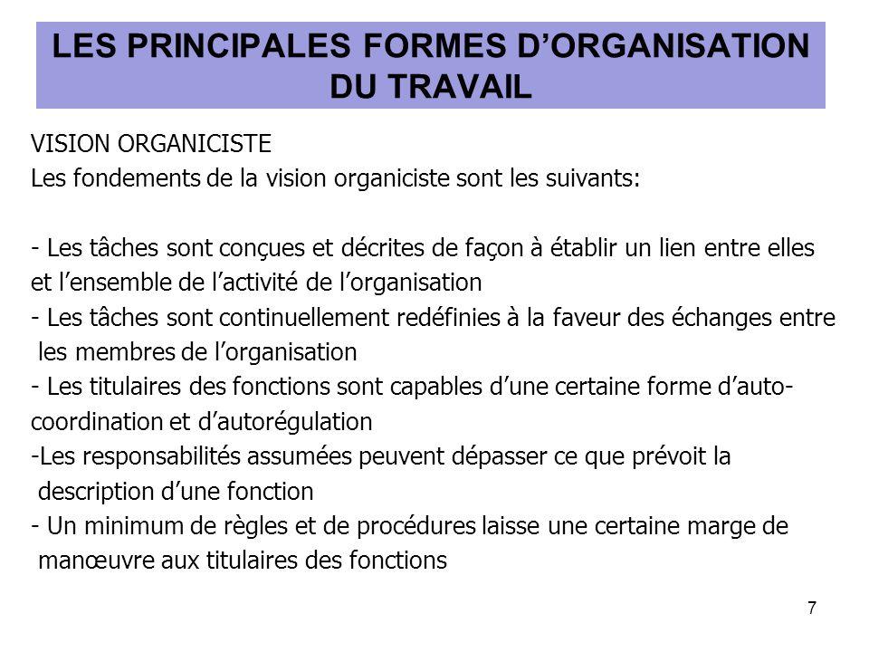 VISION ORGANICISTE Les fondements de la vision organiciste sont les suivants: - Les tâches sont conçues et décrites de façon à établir un lien entre elles et lensemble de lactivité de lorganisation - Les tâches sont continuellement redéfinies à la faveur des échanges entre les membres de lorganisation - Les titulaires des fonctions sont capables dune certaine forme dauto- coordination et dautorégulation -Les responsabilités assumées peuvent dépasser ce que prévoit la description dune fonction - Un minimum de règles et de procédures laisse une certaine marge de manœuvre aux titulaires des fonctions 7 LES PRINCIPALES FORMES DORGANISATION DU TRAVAIL