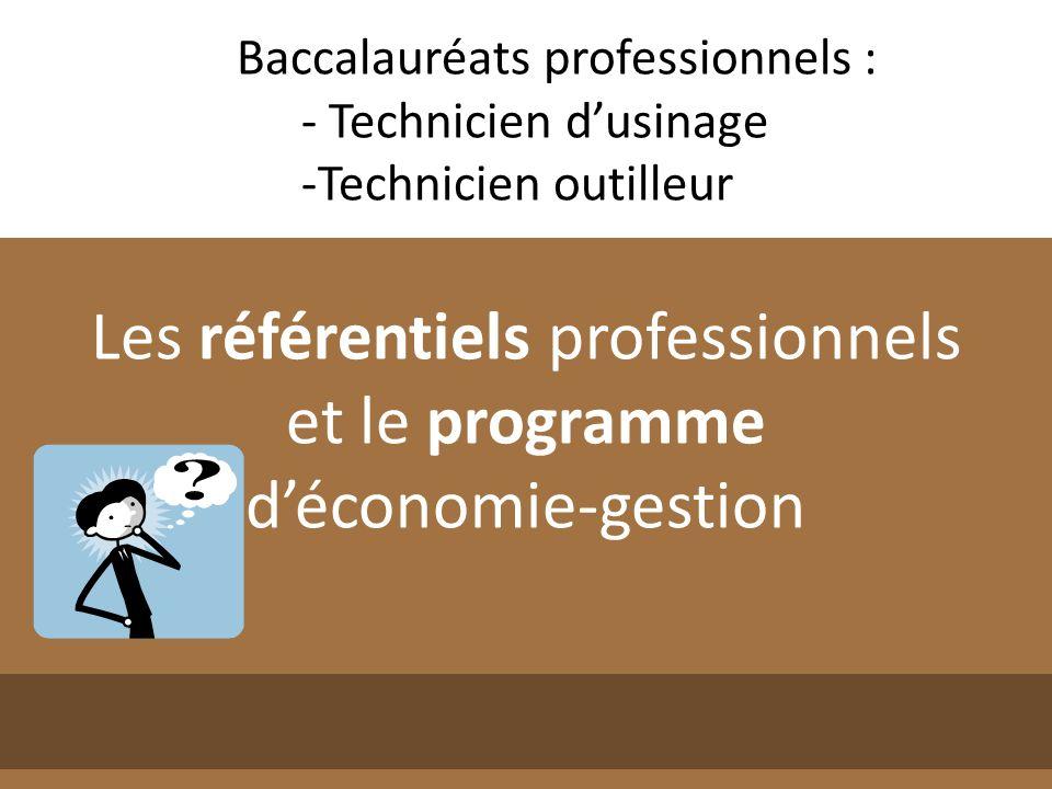 Baccalauréats professionnels : - Technicien dusinage -Technicien outilleur Les référentiels professionnels et le programme déconomie-gestion