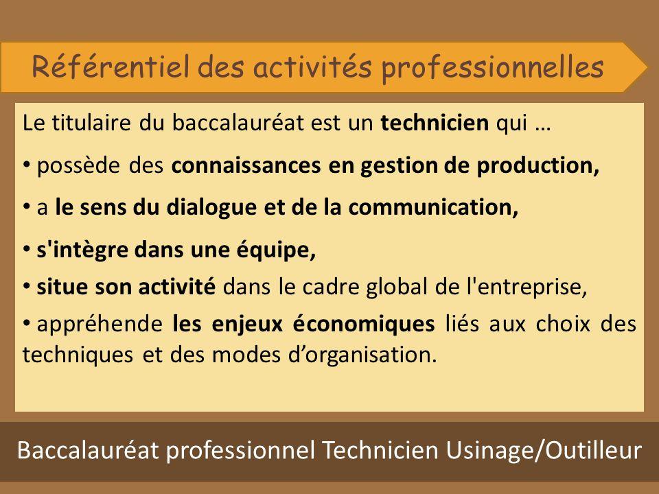 Le titulaire du baccalauréat est un technicien qui … possède des connaissances en gestion de production, a le sens du dialogue et de la communication,