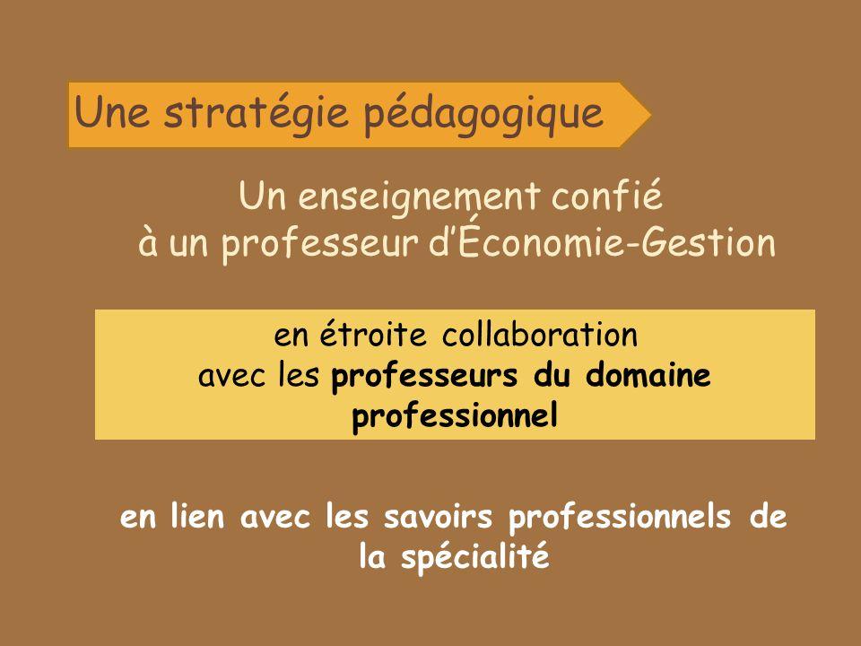Une stratégie pédagogique Un enseignement confié à un professeur dÉconomie-Gestion en étroite collaboration avec les professeurs du domaine professionnel en lien avec les savoirs professionnels de la spécialité