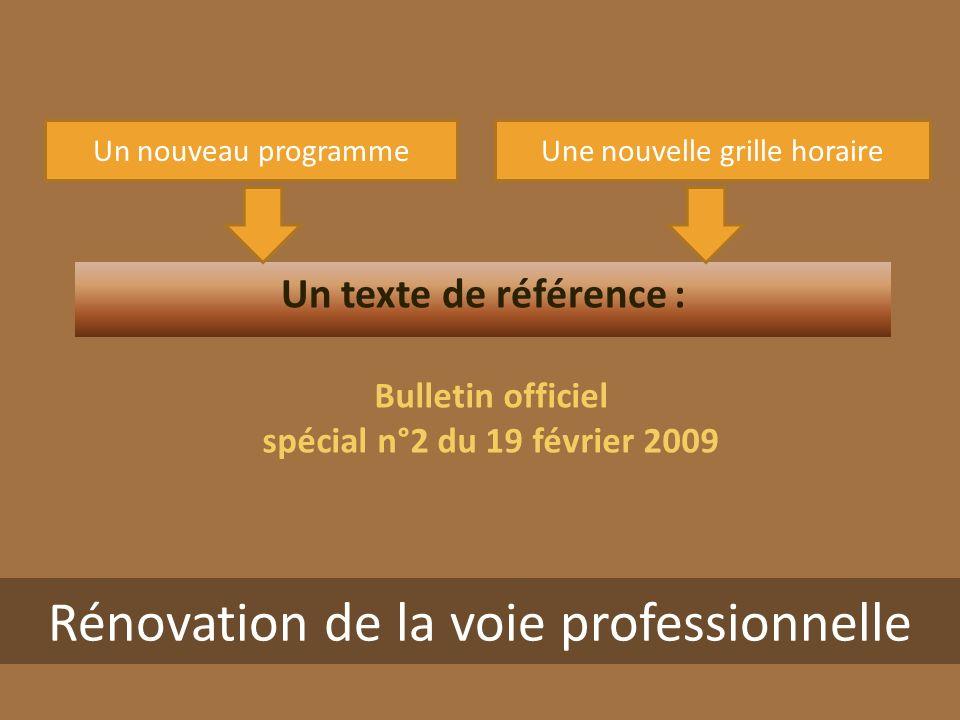 Une nouvelle grille horaireUn nouveau programme Un texte de référence : Bulletin officiel spécial n°2 du 19 février 2009 Rénovation de la voie professionnelle