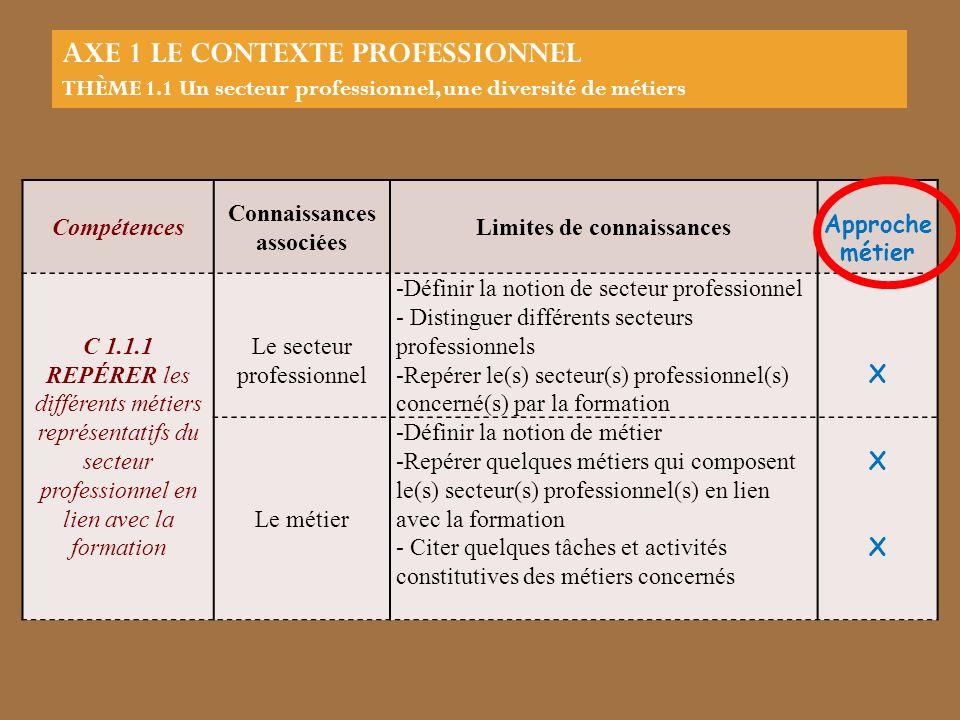 Compétences Connaissances associées Limites de connaissances Approche métier C 1.1.1 REPÉRER les différents métiers représentatifs du secteur professi