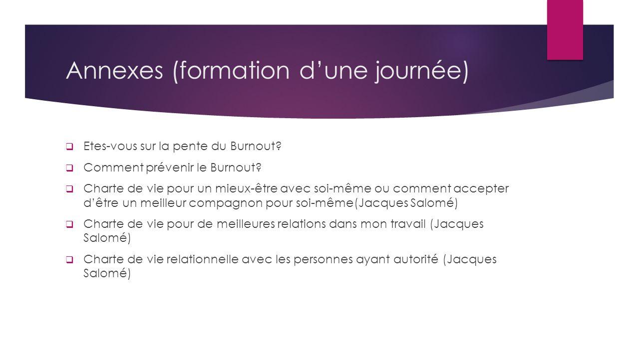 Annexes (formation dune journée) Etes-vous sur la pente du Burnout? Comment prévenir le Burnout? Charte de vie pour un mieux-être avec soi-même ou com
