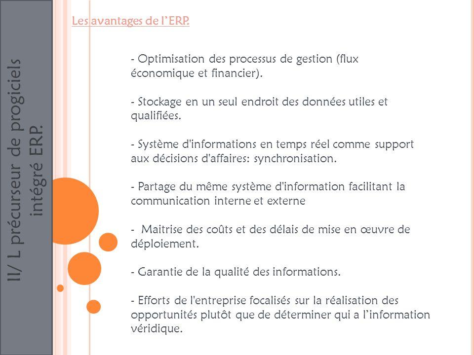 II/ L précurseur de progiciels intégré ERP. Les avantages de lERP. - Optimisation des processus de gestion (flux économique et financier). - Stockage