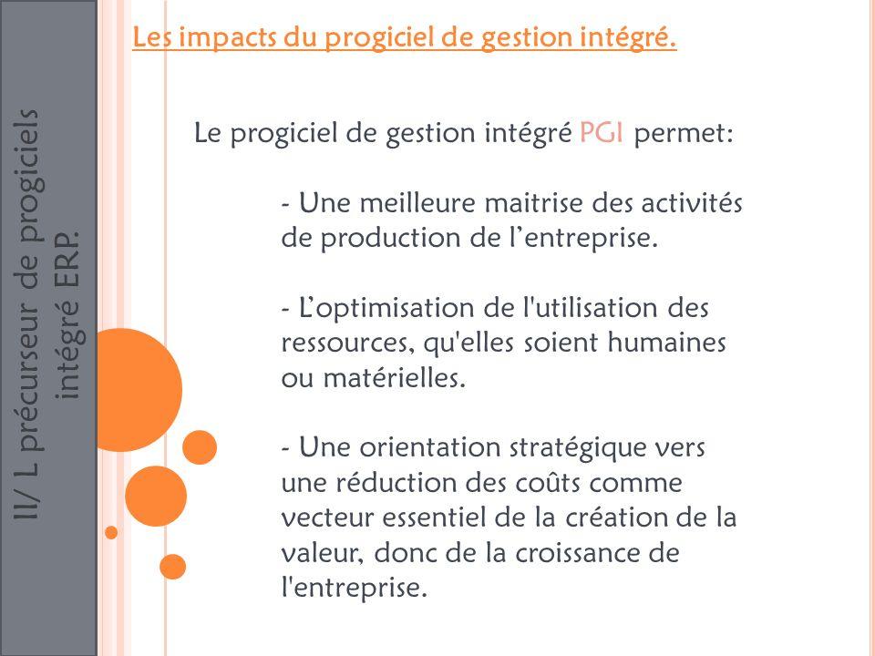 II/ L précurseur de progiciels intégré ERP. Les impacts du progiciel de gestion intégré. Le progiciel de gestion intégré PGI permet: - Une meilleure m