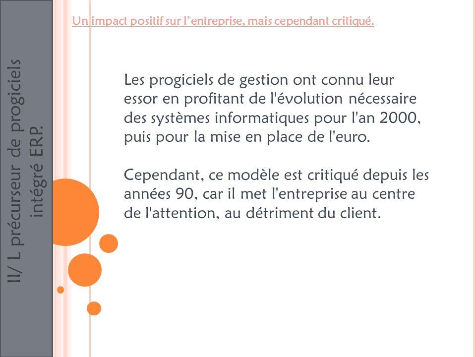 II/ L précurseur de progiciels intégré ERP. Les progiciels de gestion ont connu leur essor en profitant de l'évolution nécessaire des systèmes informa