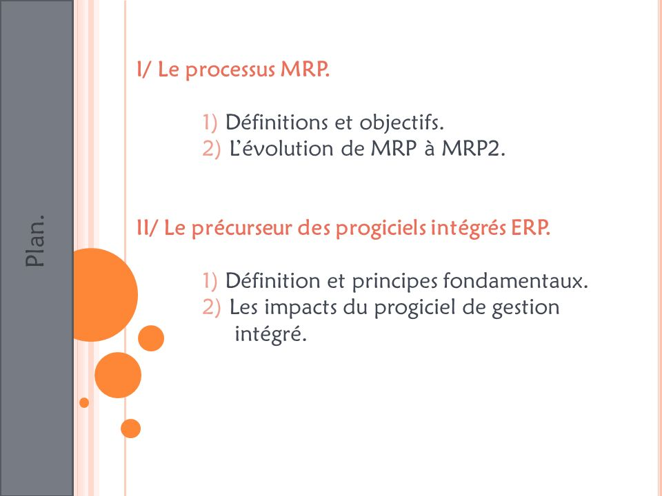 Plan. I/ Le processus MRP. 1) Définitions et objectifs. 2) Lévolution de MRP à MRP2. II/ Le précurseur des progiciels intégrés ERP. 1) Définition et p