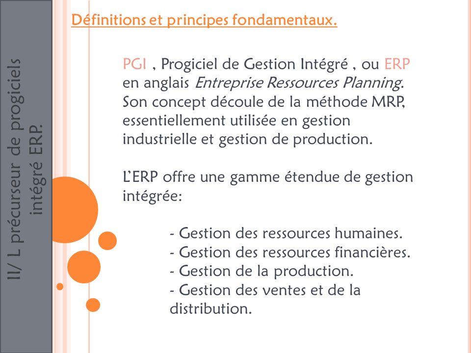 II/ L précurseur de progiciels intégré ERP. Définitions et principes fondamentaux. PGI, Progiciel de Gestion Intégré, ou ERP en anglais Entreprise Res