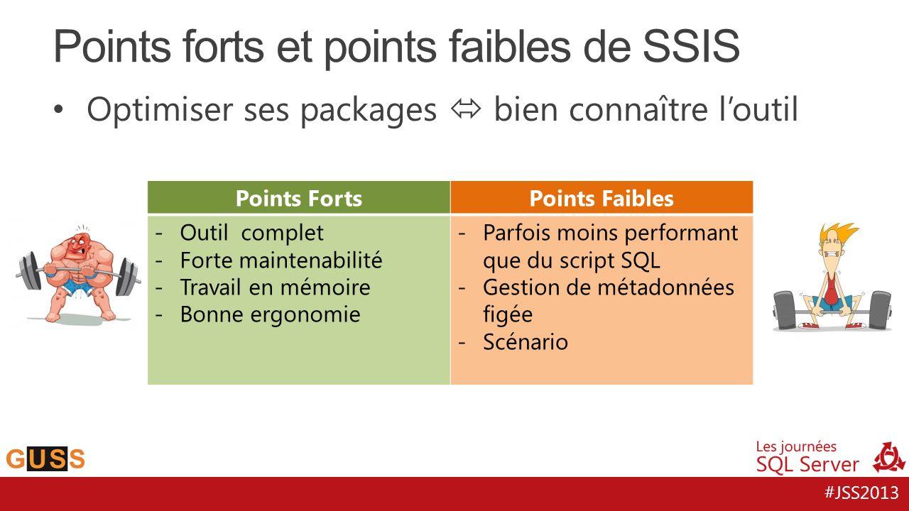 #JSS2013 Optimiser ses packages bien connaître loutil Points forts et points faibles de SSIS Points FortsPoints Faibles -Outil complet -Forte maintena