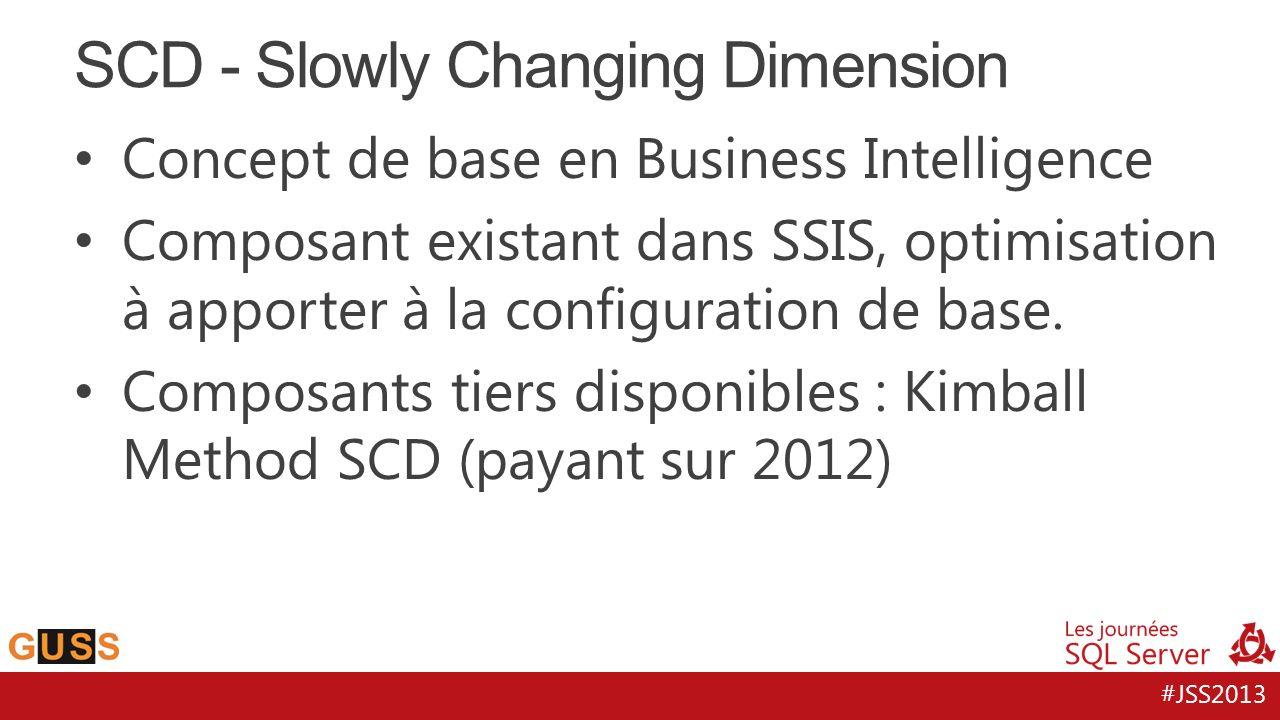 #JSS2013 Concept de base en Business Intelligence Composant existant dans SSIS, optimisation à apporter à la configuration de base. Composants tiers d