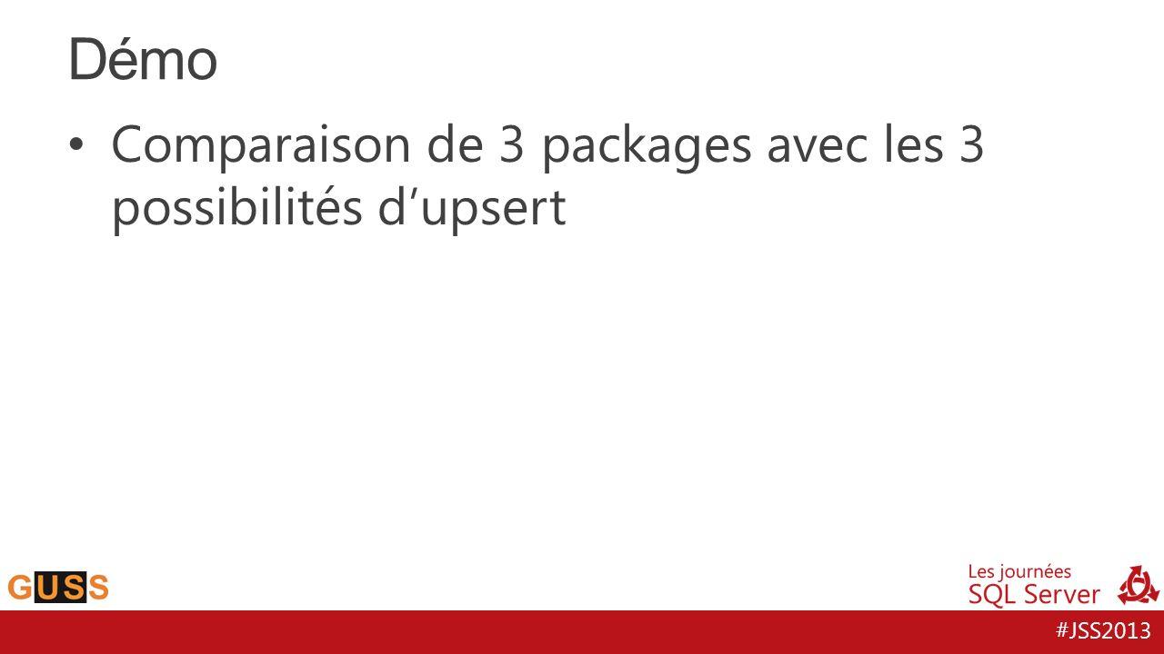 #JSS2013 Comparaison de 3 packages avec les 3 possibilités dupsert Démo