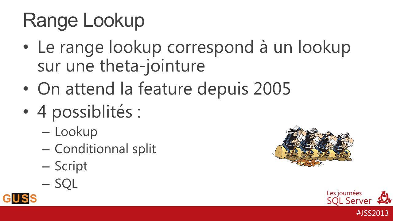 #JSS2013 Le range lookup correspond à un lookup sur une theta-jointure On attend la feature depuis 2005 4 possiblités : – Lookup – Conditionnal split