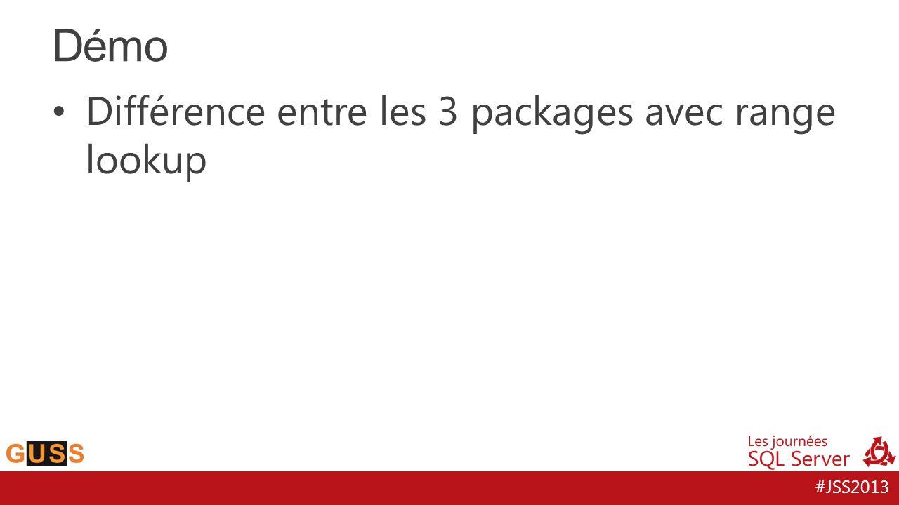 #JSS2013 Différence entre les 3 packages avec range lookup Démo