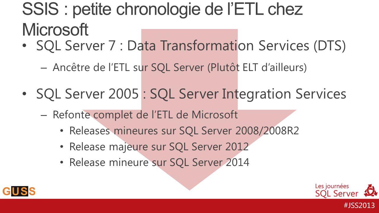 #JSS2013 SQL Server 7 : Data Transformation Services (DTS) – Ancêtre de lETL sur SQL Server (Plutôt ELT dailleurs) SQL Server 2005 : SQL Server Integr