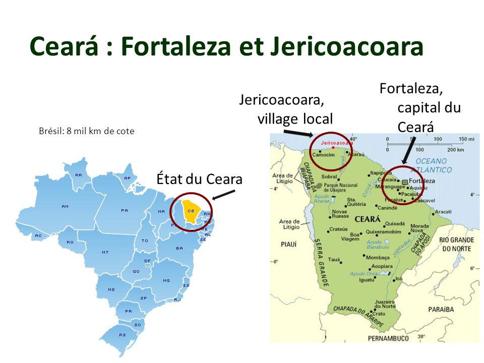 Ceará : Fortaleza et Jericoacoara Brésil: 8 mil km de cote État du Ceara Jericoacoara, village local Fortaleza, capital du Ceará