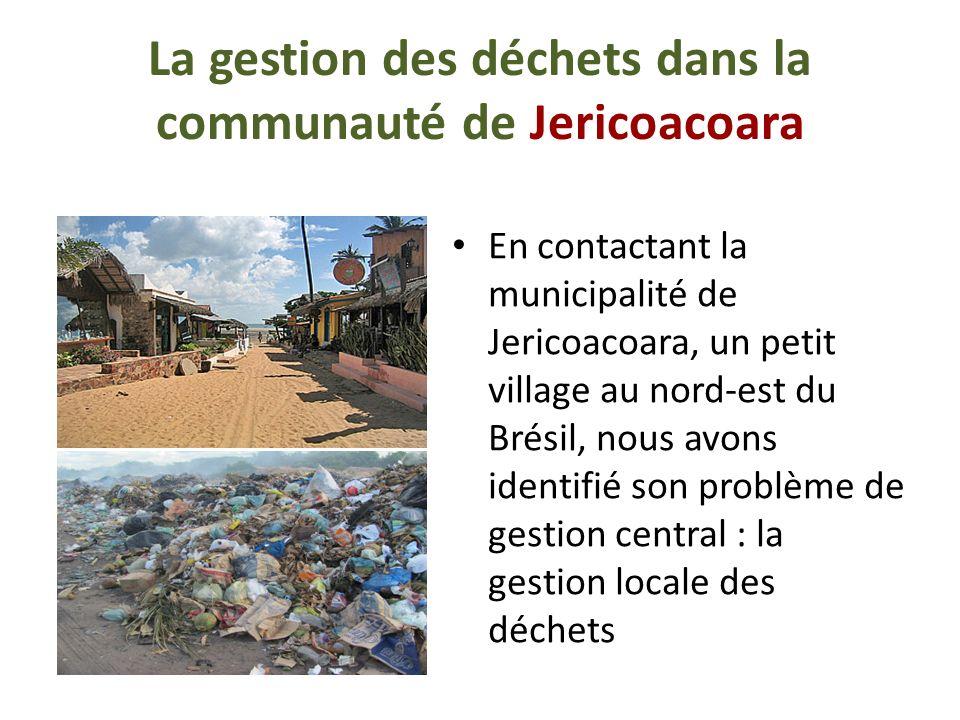 La gestion des déchets dans la communauté de Jericoacoara En contactant la municipalité de Jericoacoara, un petit village au nord-est du Brésil, nous avons identifié son problème de gestion central : la gestion locale des déchets