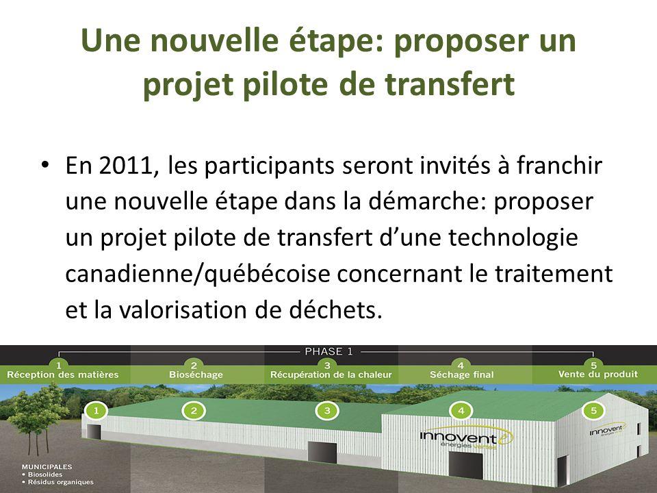 Une nouvelle étape: proposer un projet pilote de transfert En 2011, les participants seront invités à franchir une nouvelle étape dans la démarche: proposer un projet pilote de transfert dune technologie canadienne/québécoise concernant le traitement et la valorisation de déchets.