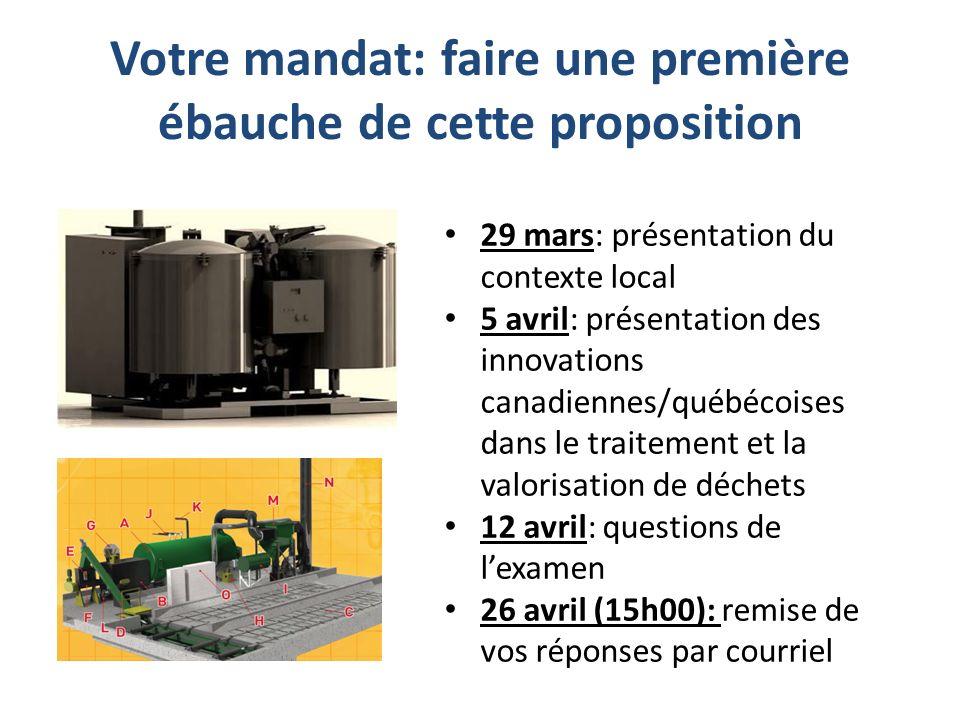 Votre mandat: faire une première ébauche de cette proposition 29 mars: présentation du contexte local 5 avril: présentation des innovations canadiennes/québécoises dans le traitement et la valorisation de déchets 12 avril: questions de lexamen 26 avril (15h00): remise de vos réponses par courriel