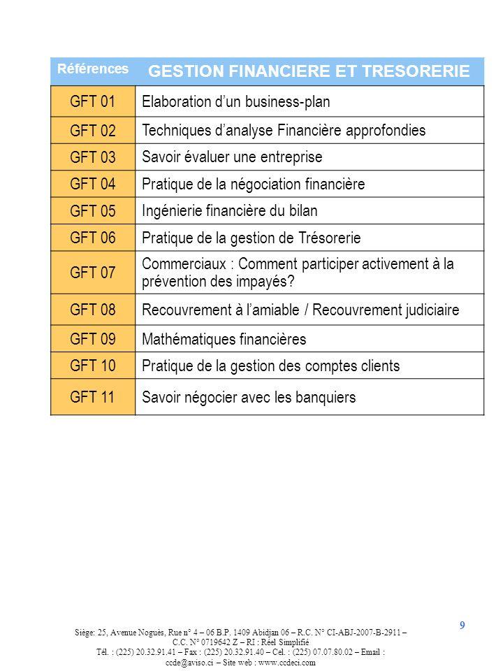 9 Références GESTION FINANCIERE ET TRESORERIE GFT 01 Elaboration dun business-plan GFT 02 Techniques danalyse Financière approfondies GFT 03 Savoir év