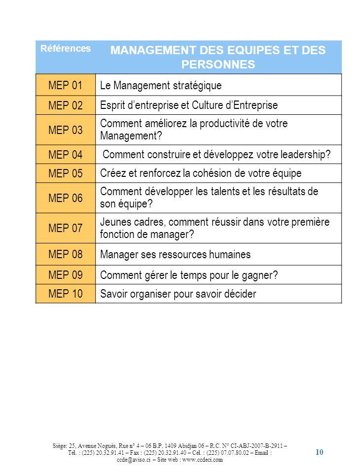 10 Références MANAGEMENT DES EQUIPES ET DES PERSONNES MEP 01Le Management stratégique MEP 02 Esprit dentreprise et Culture dEntreprise MEP 03 Comment
