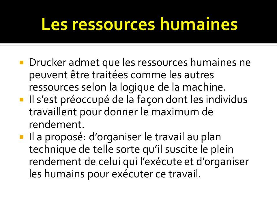 Drucker admet que les ressources humaines ne peuvent être traitées comme les autres ressources selon la logique de la machine. Il sest préoccupé de la