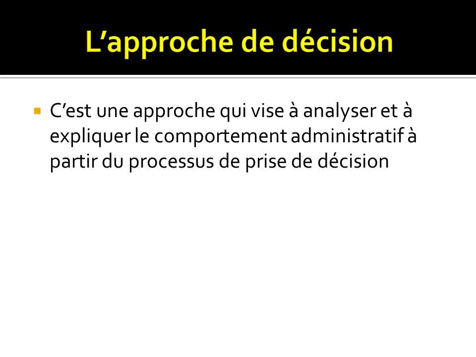 Cest une approche qui vise à analyser et à expliquer le comportement administratif à partir du processus de prise de décision