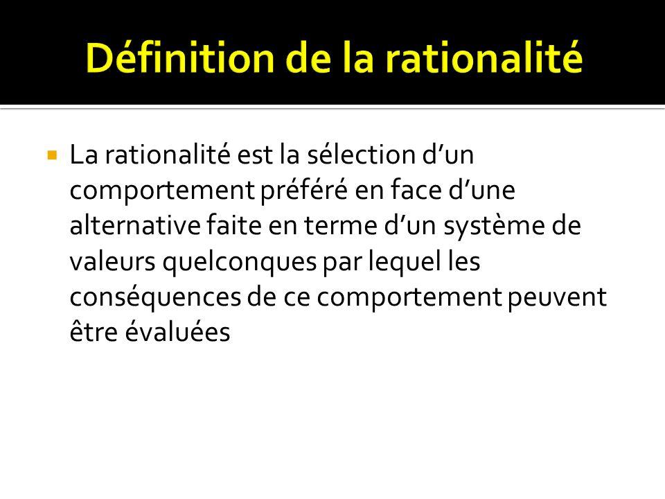 La rationalité est la sélection dun comportement préféré en face dune alternative faite en terme dun système de valeurs quelconques par lequel les con
