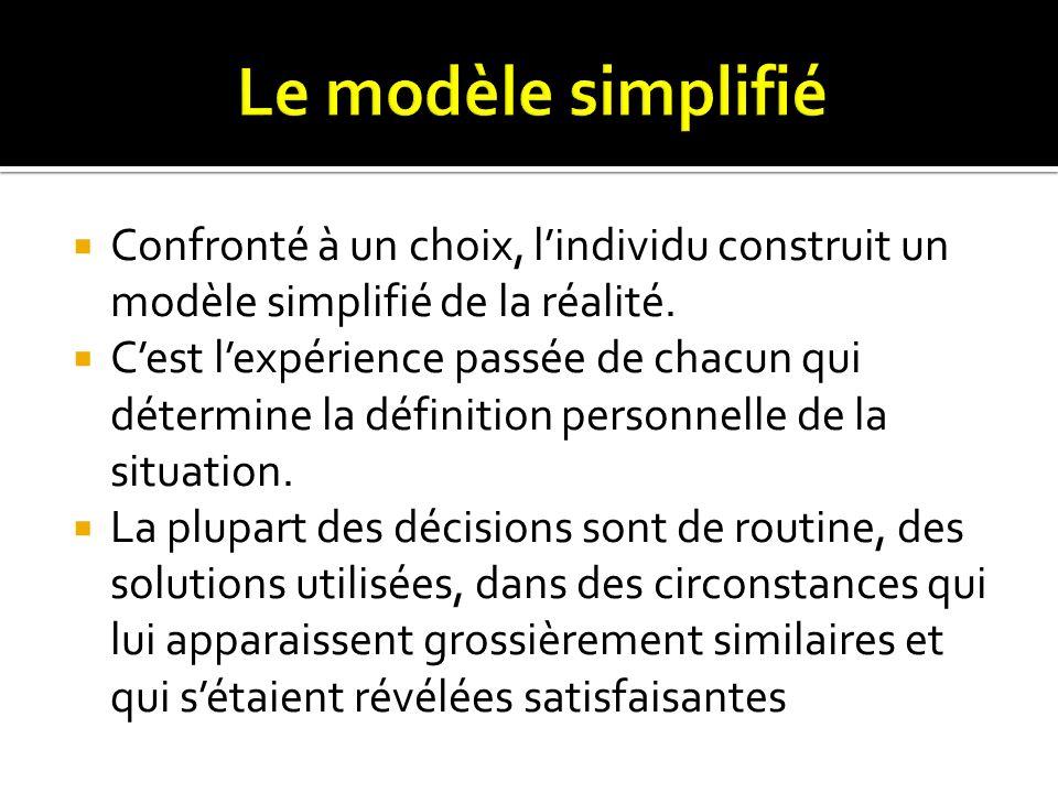 Confronté à un choix, lindividu construit un modèle simplifié de la réalité. Cest lexpérience passée de chacun qui détermine la définition personnelle