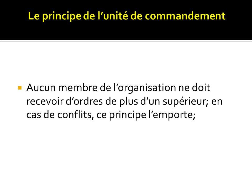 Aucun membre de lorganisation ne doit recevoir dordres de plus dun supérieur; en cas de conflits, ce principe lemporte;