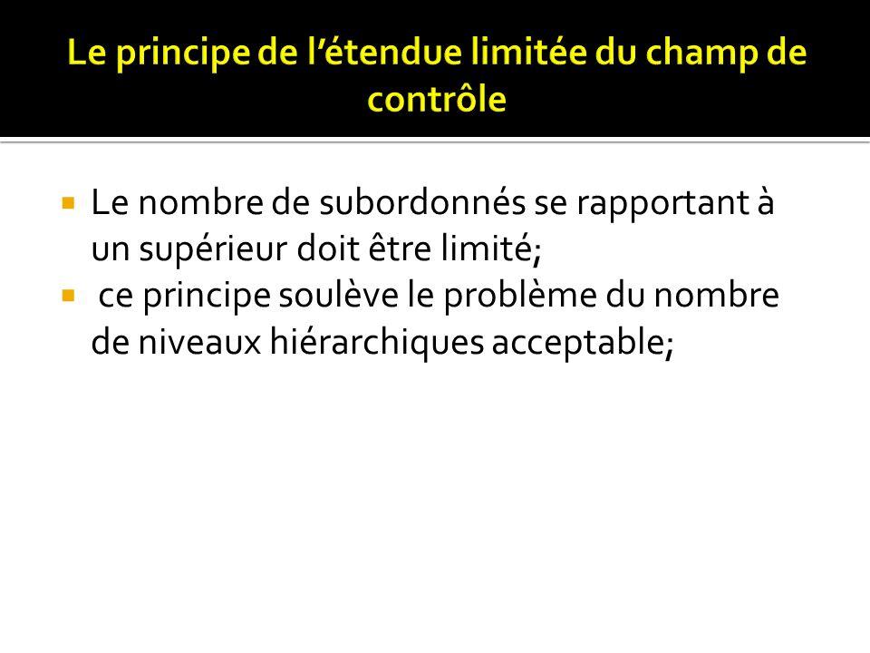 Le nombre de subordonnés se rapportant à un supérieur doit être limité; ce principe soulève le problème du nombre de niveaux hiérarchiques acceptable;