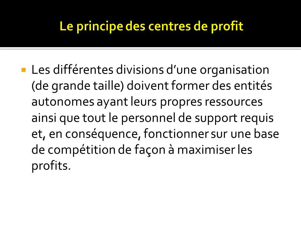 Les différentes divisions dune organisation (de grande taille) doivent former des entités autonomes ayant leurs propres ressources ainsi que tout le p