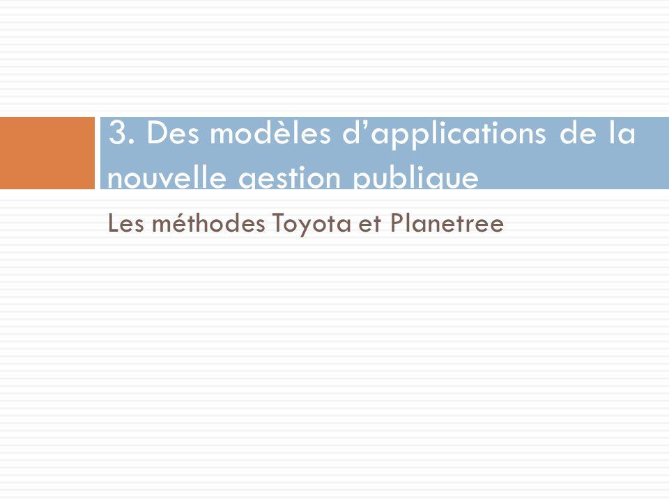 Les méthodes Toyota et Planetree 3. Des modèles dapplications de la nouvelle gestion publique