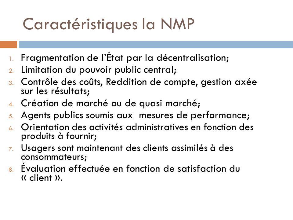 Caractéristiques la NMP 1.Fragmentation de lÉtat par la décentralisation; 2.