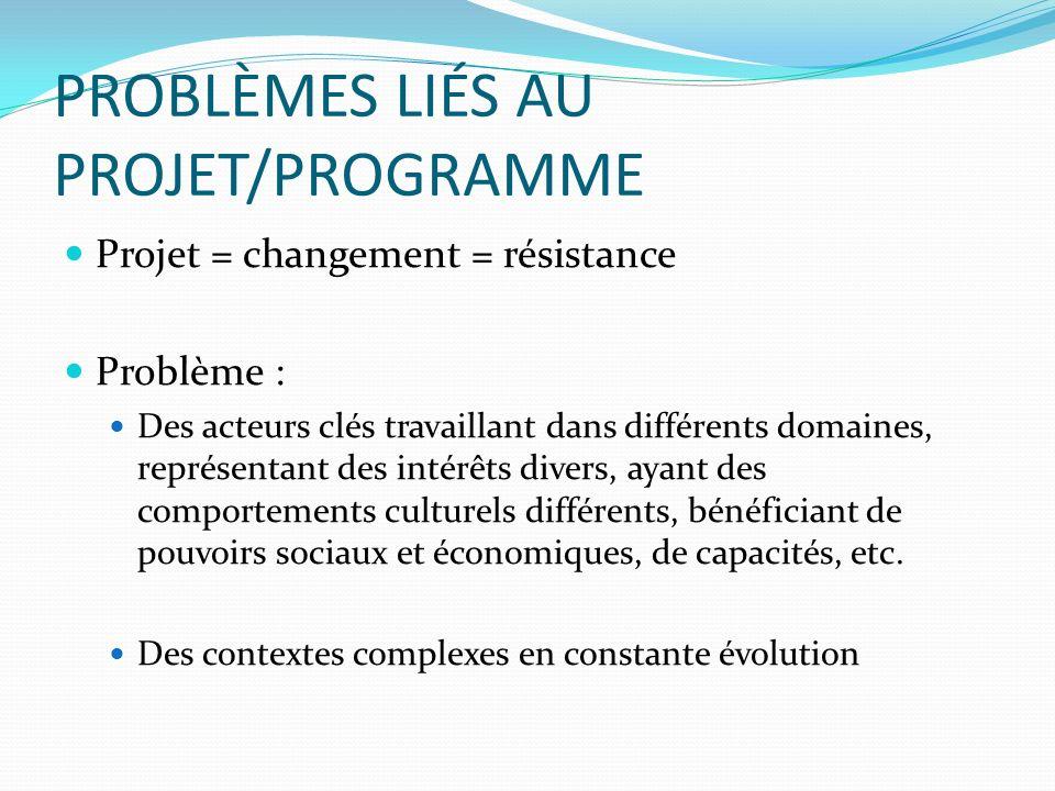 PROBLÈMES LIÉS AU PROJET/PROGRAMME Projet = changement = résistance Problème : Des acteurs clés travaillant dans différents domaines, représentant des